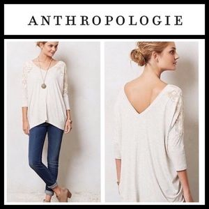 Anthropologie Dolan Double V Neck Lace Trim Tunic